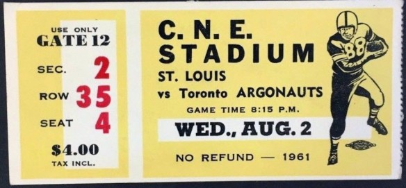 TICKET STUB from CFL Game